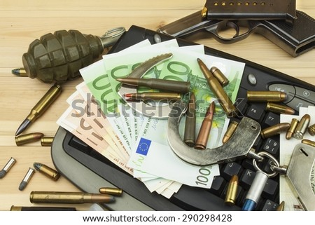 Illegal trade in arms over the internet. Real money EU and the Czech koruna. Illegal trade of ammunition. Detection and arrest of arms dealers.
