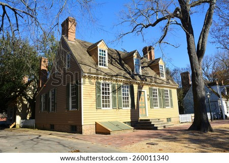 ILLIAMSBURG, VIRGINIA USA- NOVEMBER 19 2014: Duke of Gloucester Street in Colonial Williamsburg. The restored town is a living-history museum and a major attraction for tourists and field trips. - stock photo