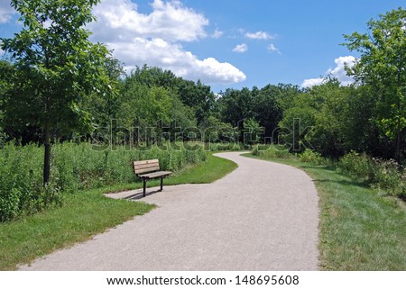 Illinois Forest Preserve Path - stock photo