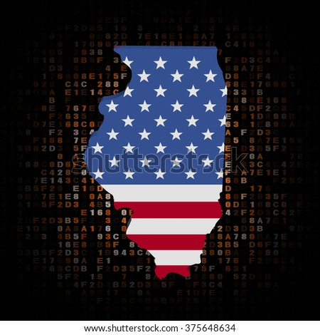 Illinois map flag on hex code illustration - stock photo