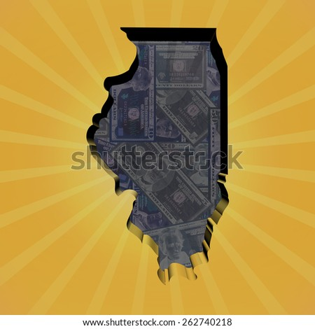 Illinois map on dollars sunburst illustration - stock photo