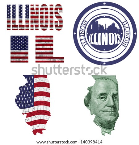 Illinois state collage (map, stamp,word,abbreviation) in different styles in different textures - stock photo