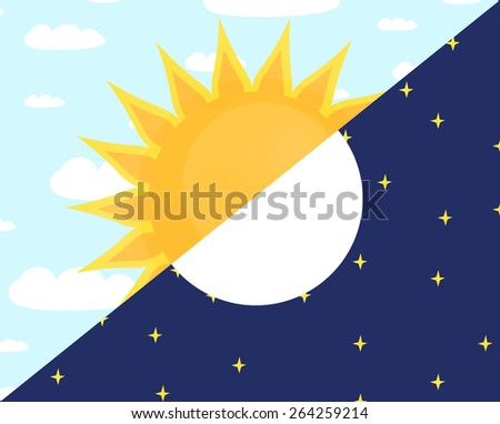 illlustration of day and night. sun and moon concept. - stock photo