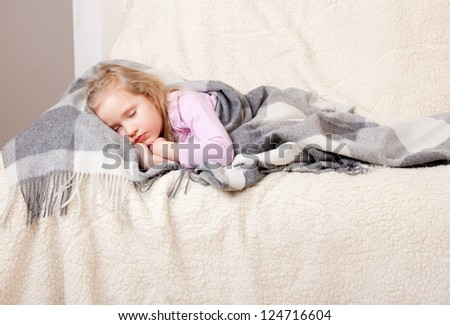 Illness sleeping girl at home. Child - stock photo