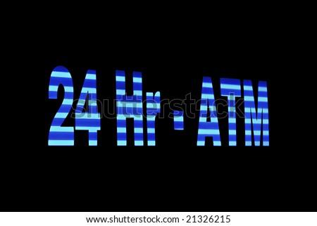Illuminated ATM Sign - stock photo