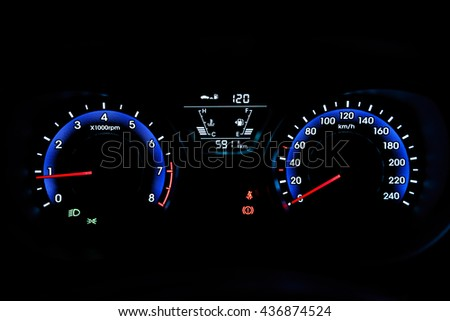 Illuminated car hud by night