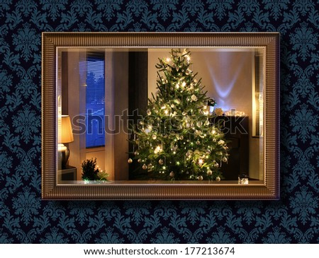 Illuminated Christmas tree seen through wall mirror - stock photo