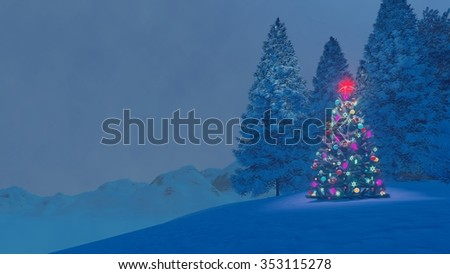 Illuminated christmas tree with red star on its top among snow-covered fir trees high in mountains at magical winter night. Decorative 3D illustration. - stock photo