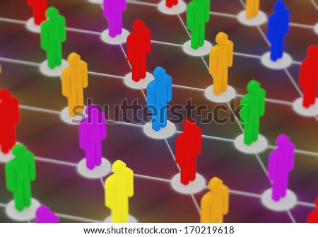 Illuminated Colorful People Network. Social Network Concept - stock photo