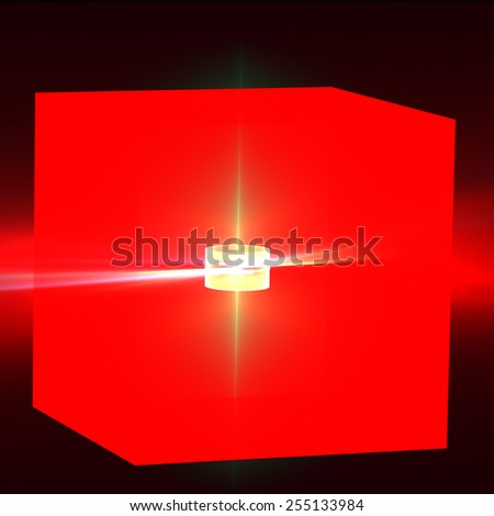 illuminated cube on a black background. 3d illustration - stock photo