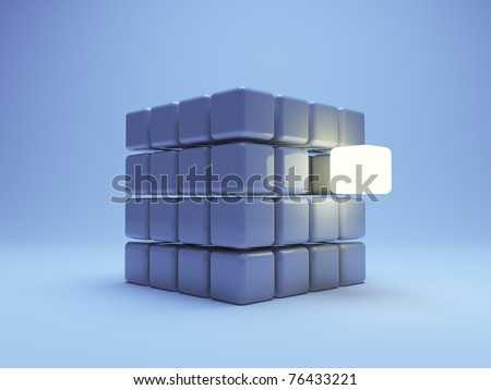 illuminated cube  on blue background. 3d illustration - stock photo