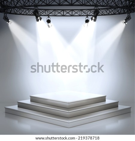 Illuminated empty stage podium for award ceremony - stock photo