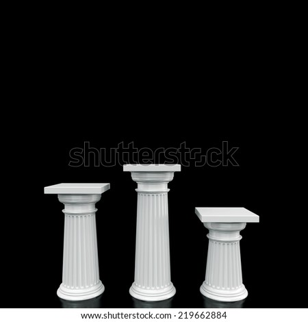 Illuminated empty stage podiums for award ceremony. High resolution - stock photo