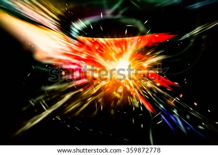 Illuminated explosion lighting color scene abstract background - stock photo