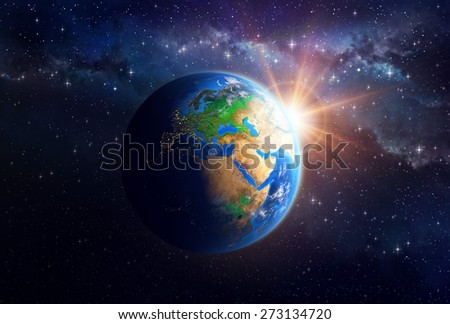 Illuminated face of the Earth in outer space. Detailed view of European, African and Asian continent. Elements of this image furnished by NASA - stock photo