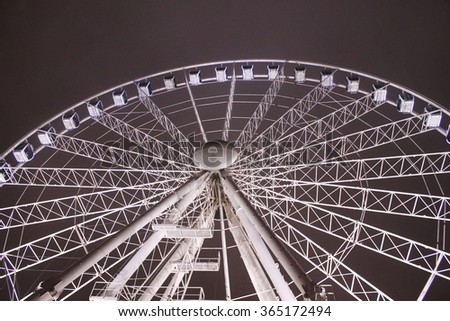 Illuminated ferris wheel on a background of the night sky