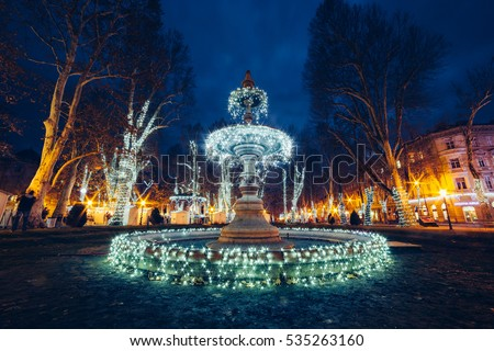 Illuminated fountain on Zrinjevac (Zagreb, Croatia), Christmas market (Advent)