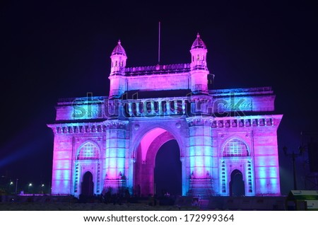 Illuminated Gateway of India in Mumbai at night during the Republic Day - stock photo
