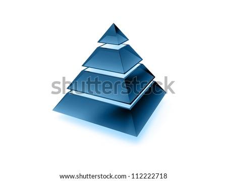 Illuminated layered pyramid made of dark blue glass isolated on white - stock photo