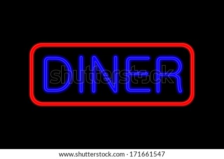 Illuminated Neon sign with blue Letters and red frame showing Diner isolated on black background
