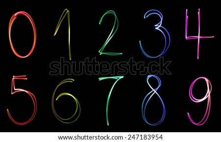 Illuminated numbers from zero in nine in different colors on a black background. - stock photo