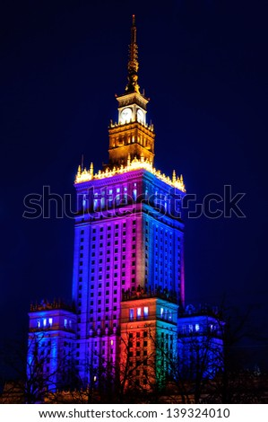 Illuminated Palace of Culture and Science at night. Warsaw, Poland - stock photo