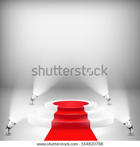 Illuminated Podium With Red Carpet - stock photo