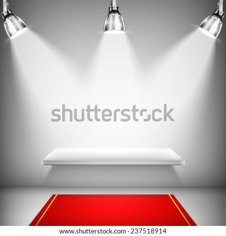 Illuminated Shelf With Red Carpet. - stock photo