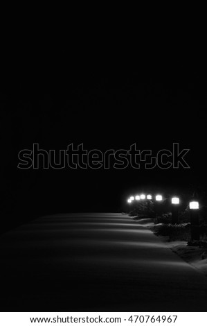 Illuminated Snowy Park Footpath Lights, Lit Outdoor Lamps, Pathway Pavement Lanterns Lampposts Row, Winter Snow, Evergreen Shrubs, Solitude Concept, Vertical Deserted Night Scene, Isolated Background