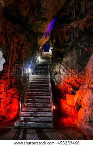 illuminated St Michael's Cave, Gibraltar - stock photo