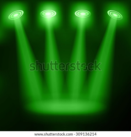 Illuminated stage podium for award ceremony Raster version - stock photo