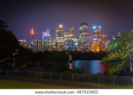 Illuminated Sydney City at Night. Image may contain noise and blurred due to long exposure.