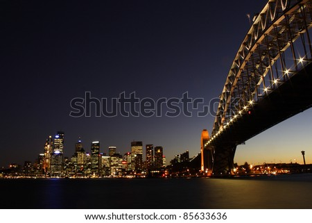 Illuminated Sydney harbour bridge in New South Wales Australia - stock photo