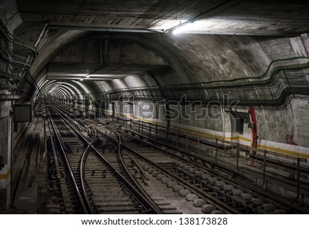 Illuminated, Underground Tunnel - stock photo