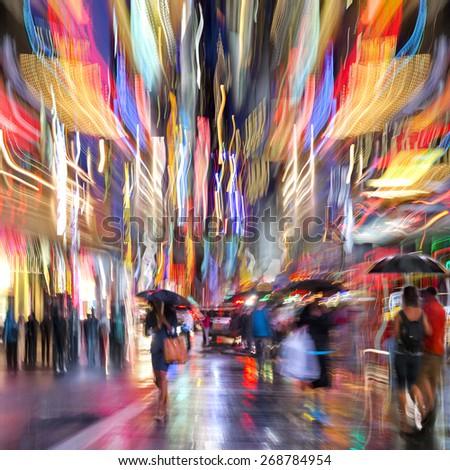 illumination and night life of the city motion blur - stock photo