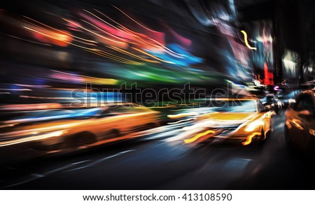 Illumination and night lights of big city. Intentional motion blur - stock photo