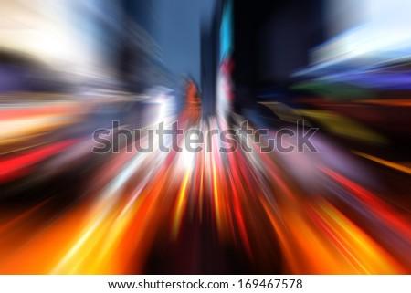 Illumination and night lights of New York City. Intentional motion blur - stock photo