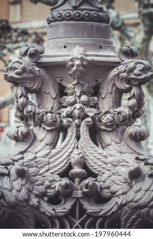 illumination, traditional street lamp with decorative metal flourishes - stock photo