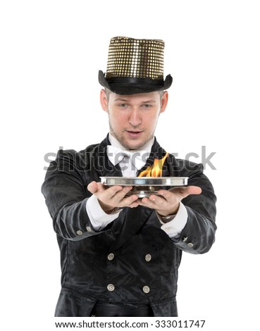 Illusionist Shows Tricks with Fire, on white background