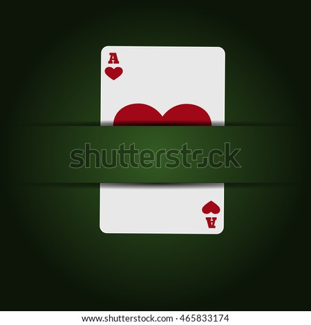 Illustartion green casino background with  card