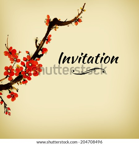 Illustraion Blossom Sakura Can Be Used Stock Illustration - Birthday invitation in japanese