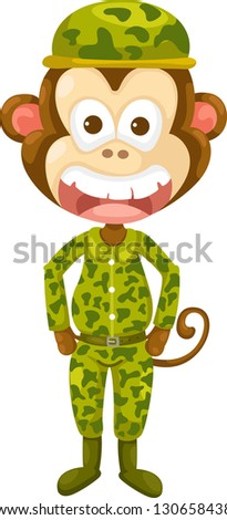 Illustraiton of monkey army .jpg  (EPS vector version id 130017041,format also available in my portfolio) - stock photo