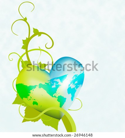 Illustrate a healthy environment with this heart shaped globe on a vine. Similar images in my portfolio. - stock photo