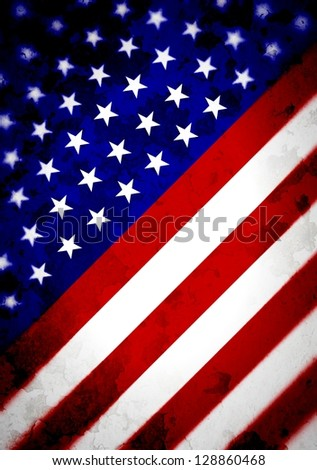 Illustrated angled flag of the United States - stock photo