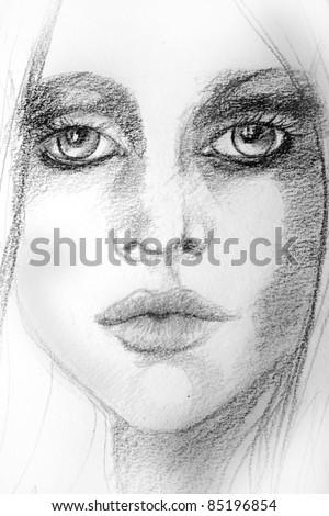 illustrated beautiful woman - stock photo