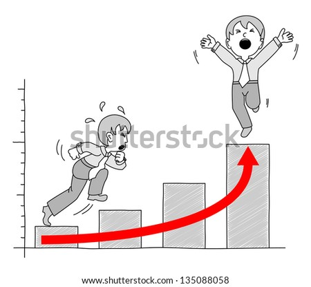 illustrated chart with businessman