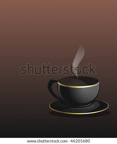 illustrated coffee cup on brown gradient background - stock photo