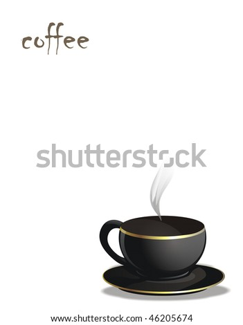 illustrated coffee cup with text on white background - stock photo