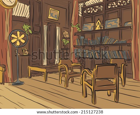 Illustrated color sketch of an olden reading room or living room with wooden furniture - stock photo