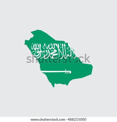 Illustrated Country Shape with the Flag inside of Saudi Arabia